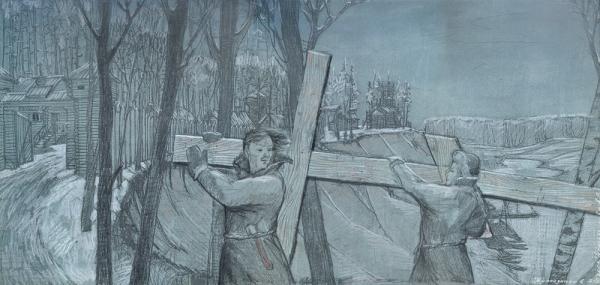 Строительство Меньшиковым церкви в «Березове»